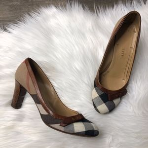 Burberry House Market Check Canvas Leather Pumps